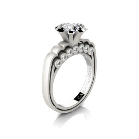 Caravaggio-Classic-14K-Matte-White-Gold-1-0-Carat-White-Sapphire-Diamond-Engagement-Ring-R637-14KMWGDWS-P