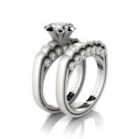 Caravaggio Classic 14K Matte White Gold 1.0 Ct White Sapphire Diamond Engagement Ring Wedding Band Set R637S-14KMWGDWS