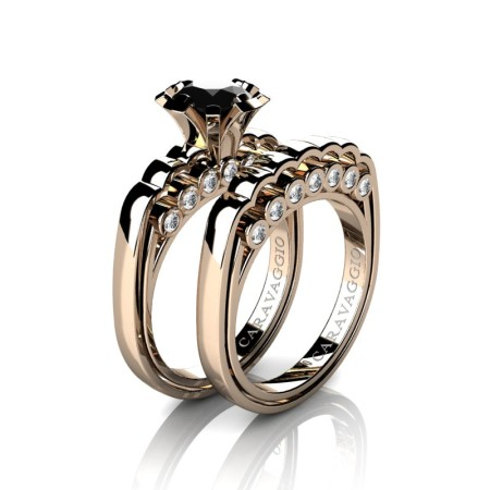Caravaggio-Classic-14K-Rose-Gold-1-0-Carat-Black-and-White-Diamond-Engagement-Ring-Wedding-Band-Set-R637S-14KRGDBD-P