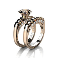Caravaggio Classic 14K Rose Gold 1.0 Ct Champagne and White Diamond Engagement Ring Wedding Band Set R637S-14KRGDCHD