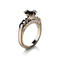 Caravaggio Classic 14K Rose Gold 1.25 Ct Black and White Diamond Engagement Ring R637-14KRGDNBD