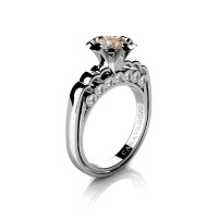 Caravaggio Classic 14K White Gold 1.0 Ct Champagne and White Diamond Engagement Ring R637-14KWGDCHD