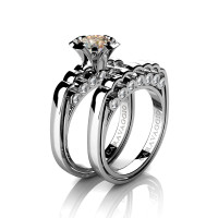 Caravaggio Classic 14K White Gold 1.0 Ct Champagne and White Diamond Engagement Ring Wedding Band Set R637S-14KWGDCHD