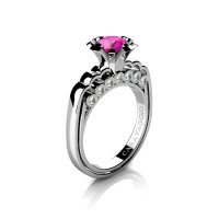 Caravaggio Classic 14K White Gold 1.0 Ct Pink Sapphire Diamond Engagement Ring R637-14KWGDPS