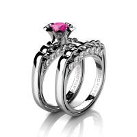 Caravaggio Classic 14K White Gold 1.0 Ct Pink Sapphire Diamond Engagement Ring Wedding Band Set R637S-14KWGDPS