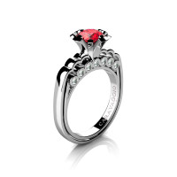 Caravaggio Classic 14K White Gold 1.0 Ct Fire Ruby Diamond Engagement Ring R637-14KWGDFR