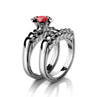 Caravaggio Classic 14K White Gold 1.0 Ct Fire Ruby Diamond Engagement Ring Wedding Band Set R637S-14KWGDFR