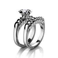 Caravaggio Classic 14K White Gold 1.0 Ct White Sapphire Diamond Engagement Ring Wedding Band Set R637S-14KWGDWS