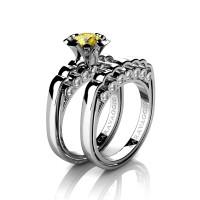 Caravaggio Classic 14K White Gold 1.0 Ct Yellow Sapphire Diamond Engagement Ring Wedding Band Set R637S-14KWGDYS