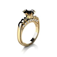 Caravaggio Classic 14K Yellow Gold 1.25 Ct Black and White Diamond Engagement Ring R637-14KYGDNBD