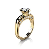 Caravaggio Classic 14K Yellow Gold 1.0 Ct White Sapphire Diamond Engagement Ring R637-14KYGDWS