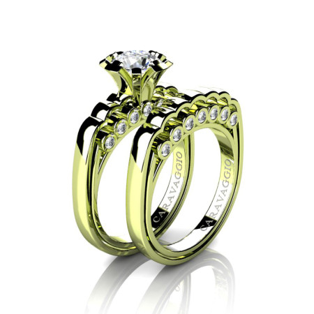 Caravaggio-Classic-18K-Green-Gold-1-0-Carat-White-Sapphire-Diamond-Engagement-Ring-Wedding-Band-Set-R637S-18KGGDWS-P