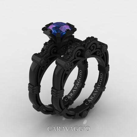 Art-Masters-Caravaggio-14K-Black-Gold-1-Carat-Chrysoberyl-Alexandrite-Black-Diamond-Engagement-Ring-Wedding-Band-Set-R623S-14KBGBDAL-P