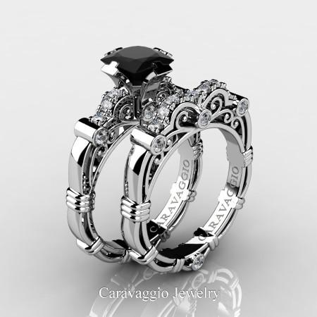Art-Masters-Caravagio-950-Platinum-1-5-Carat-Princess-Black-Diamond-and-White-Diamond-Engagement-Ring-Wedding-Band-Set-R623PS-PLATDBD-P