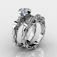 Art Masters Caravaggio 950 Platinum 1.25 Ct Princess White Sapphire Diamond Engagement Ring Wedding Band Set R623PS-PLATDWS