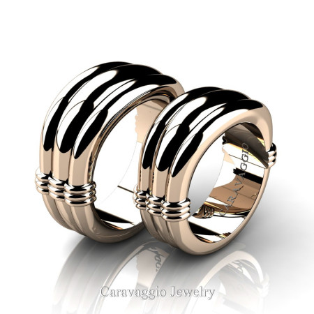 Caravaggio-Classic-14K-Rose-Gold-Wedding-Ring-Set-R2001S-14KRG-P
