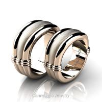 Caravaggio Classic 14K Rose Gold Wedding Ring Set R2001S-14KRGS