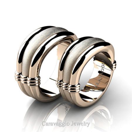 Caravaggio-Classic-14K-Rose-Gold-Wedding-Ring-Set-R2001S-14KRGS-P