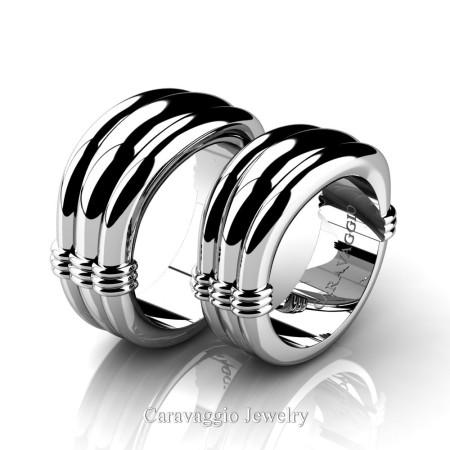 Caravaggio-Classic-14K-White-Gold-Wedding-Ring-Set-R2001S-14KWG-P