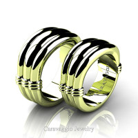 Caravaggio Classic 18K Green Gold Wedding Ring Set R2001S-18KGG