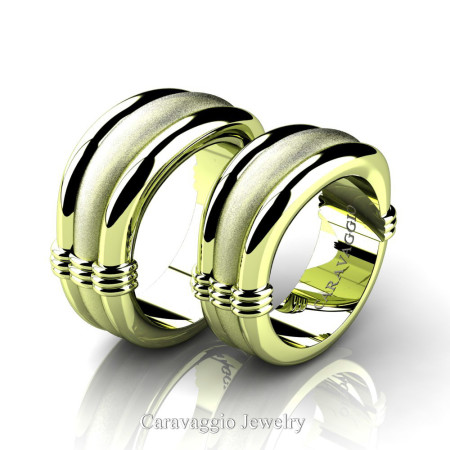 Caravaggio-Classic-18K-Green-Gold-Wedding-Ring-Set-R2001S-18KGGS-P