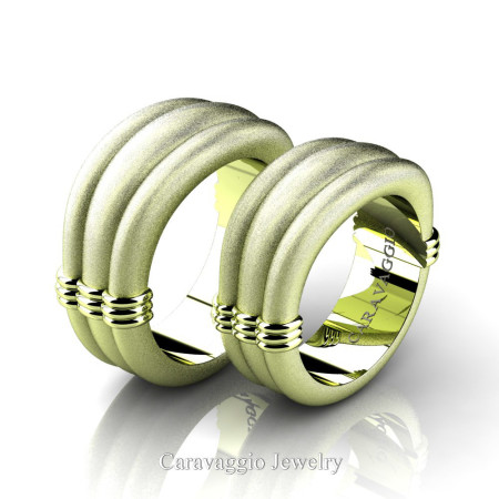 Caravaggio-Classic-18K-Green-Gold-Wedding-Ring-Set-R2001S-18KGGSS-P