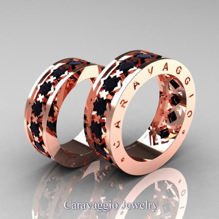Caravaggio-Modern-14K-Rose-Gold-Princess-Black-Diamond-Wedding-Band-Set-R313S-14KRGBD-P