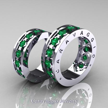 Caravaggio-Modern-14K-White-Gold-Princess-Emerald-Wedding-Band-Set-R313S-14KWGEM-P