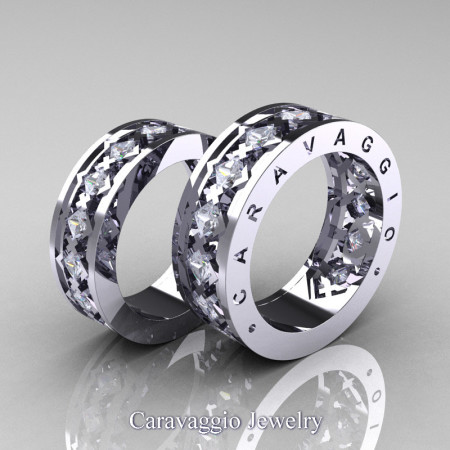 Caravaggio-Modern-14K-White-Gold-Princess-White-Sapphire-Wedding-Band-Set-R313S-14KWGWS-P