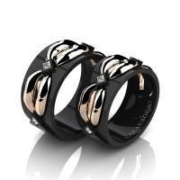 Caravaggio Romance 14K Black and Rose Gold Princess Diamond Wedding Ring Set R683S-14KBRGD