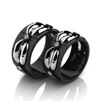 Caravaggio Romance 14K Black and White Gold Princess Diamond Wedding Ring Set R683S-14KBWGD