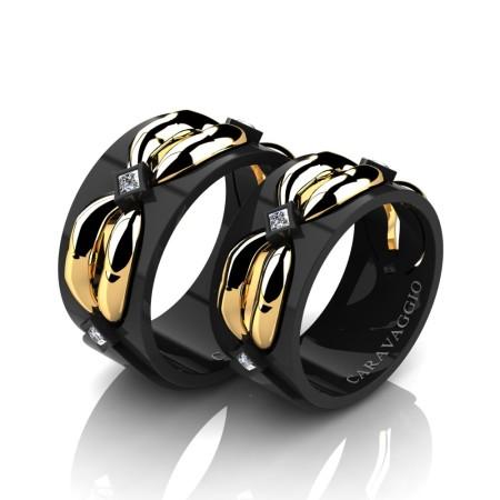 Caravaggio-Romance-14K-Black-and-Yellow-Gold-Princess-Diamond-Wedding-Ring-Set-R683S-14KBYGD2-P
