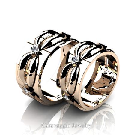 Caravaggio-Romance-14K-Rose-Gold-Princess-Diamond-Wedding-Ring-Set-R683S-14KRGD2-P