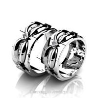 Caravaggio Romance 14K White Gold Princess Diamond Wedding Ring Set R683S-14KWGD