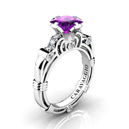 Art-Masters-Caravaggio-950-Platinum-1-25-Ct-Princess-Amethyst-Diamond-Engagement-Ring-R623P-PLATDAM-P