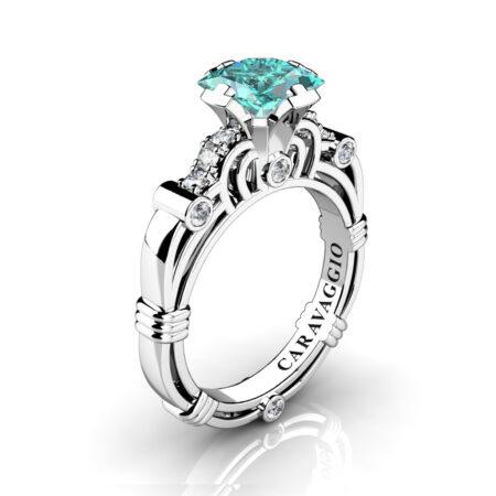 Art-Masters-Caravaggio-950-Platinum-1-25-Ct-Princess-Blue-and-White-Diamond-Engagement-Ring-R623P-PLATDBD-P