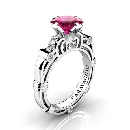 Art-Masters-Caravaggio-950-Platinum-1-25-Ct-Princess-Deep-Ruby-Diamond-Engagement-Ring-R623P-PLATDR-P