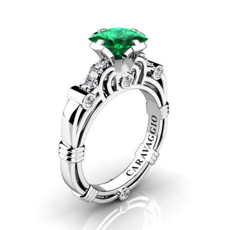 Art-Masters-Caravaggio-950-Platinum-1-25-Ct-Princess-Emerald-Diamond-Engagement-Ring-R623P-PLATDEM-P