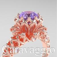 Caravaggio Lace 14K Rose Gold 1.0 Ct Tanzanite Diamond Engagement Ring R634-14KRGDTA