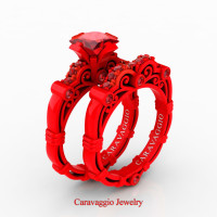 London Exclusive Caravaggio 14K Red Gold 1.25 Ct Princess Ruby Engagement Ring Wedding Band Set R623PS-14KREGR