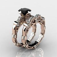 Art Masters Caravaggio 14K Rose Gold 1.25 Ct Princess Black Sapphire Diamond Engagement Ring Wedding Band Set R623PS-14KRGDBLS