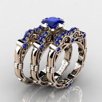 Art Masters Caravaggio Trio 14K Rose Gold 1.25 Ct Princess Blue Sapphire Engagement Ring Wedding Band Set R623PS3-14KRGBS