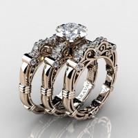 Art Masters Caravaggio Trio 14K Rose Gold 1.25 Ct Princess White Sapphire Diamond Engagement Ring Wedding Band Set R623PS3-14KRGDWS