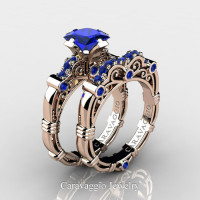 Art Masters Caravaggio 14K Rose Gold 1.25 Ct Princess Blue Sapphire Engagement Ring Wedding Band Set R623PS-14KRGBS