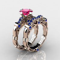 Art Masters Caravaggio 14K Rose Gold 1.25 Ct Princess Pink and Blue Sapphire Engagement Ring Wedding Band Set R623PS-14KRGBSPS