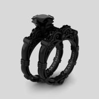 Art Masters Caravaggio 14K Black Gold 1.25 Ct Princess Black Sapphire Engagement Ring Wedding Band Set R623PS-14KBGBLS