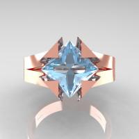 Neomodern 14K Rose Gold 2.0 CT Princess Aquamarine Engagement Ring R489-14KRGAQ