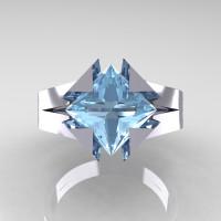 Neomodern 14K White Gold 2.0 CT Princess Aquamarine Engagement Ring R489-14KWGAQ