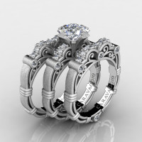 Art Masters Caravaggio Trio 14K Matte White Gold 1.25 Ct Princess White Sapphire Diamond Engagement Ring Wedding Band Set R623PS3-14KMWGDWS