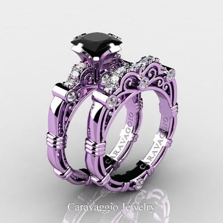 Art Masters Caravaggio 14K Lilac Gold 1.25 Ct Princess Black Sapphire Diamond Engagement Ring Wedding Band Set R623PS-14KLGDBLS